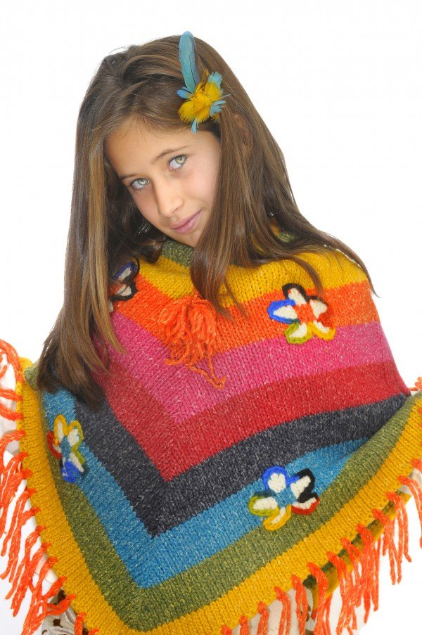 Kinderponcho stricken